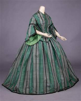 GREEN & BLACK PLAID TAFFETA DAY DRESS, 1857-1858