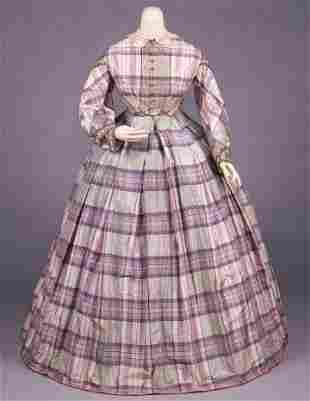 PLAID SILK TAFFETA DAY DRESS, c. 1860