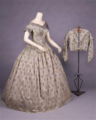 CONVERTIBLE PATTERNED SILK GOWN, 1850-1855