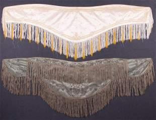 TWO SHAPED & EMBROIDERED TAFFETA SHAWLS, 1850 & 1865-70