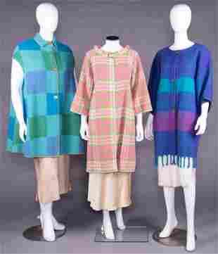 THREE BONNIE CASHIN GEOMETRIC PATTERNED COATS, 1955-70