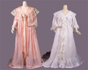 TWO TRAINED BOUDOIR GOWNS, 1900-1910