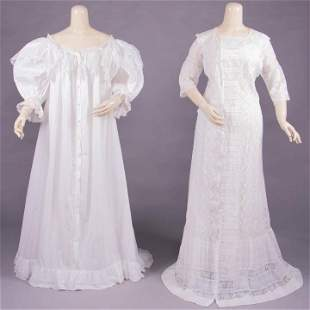 TWO COTTON & LACE DRESSING GOWNS, 1880-1890s