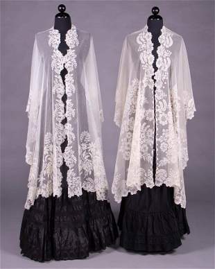 TWO LONG EMBROIDERED OR APPLIQUÉD SHAWLS, 1830-1840s