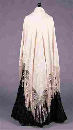 EXCEPTIONAL REVERSIBLE CANTON SHAWL, LATE 19TH C