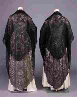 TWO TRIANGULAR CHANTILLY LACE SHAWLS, 1850-1860s