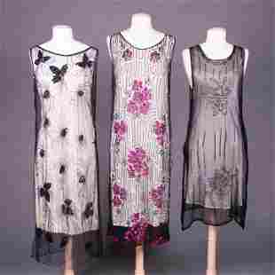 THREE BEADED & SEQUINED PARTY DRESSES, 1920s