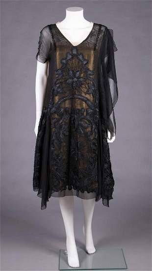 GEORGETTE & GOLD LAMÉ PARTY DRESS, MID 1920s