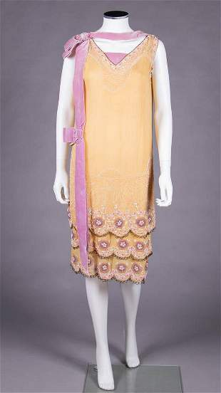 YELLOW BEADED PARTY DRESS, 1920s