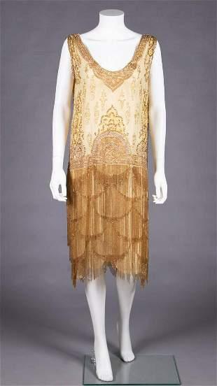 HEAVILY BEADED & ELABORATELY FRINGED PARTY DRESS, 1920s