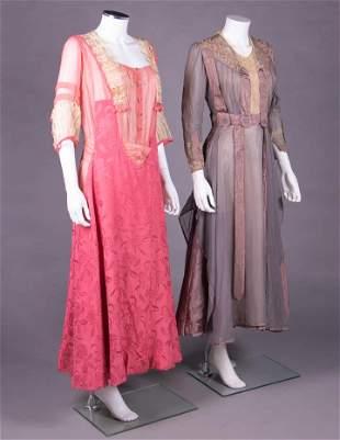 TWO CHIFFON & SATIN DAY DRESSES, CLEVELAND, 1910s