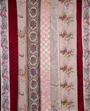 LOT OF FLORAL CHINE LENGTHS & RIBBONS, LATE 19TH C