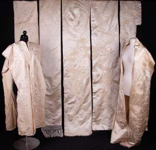 SETS OF PRE-EMBROIDERED SILK PANELS FOR ROBE OR KIMONO