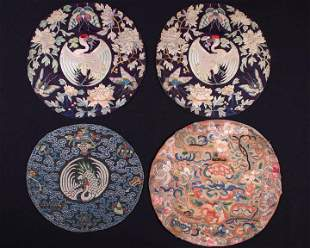 FOUR CIRCULAR EMBROIDERED MEDALLION, CHINA