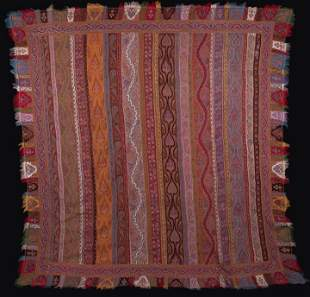 EXCEPTIONAL EMBROIDERED KASHMIRI SHAWL, INDIA, 1830-40s