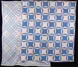 ONE SILK & ONE COTTON QUILT, EARLY 1920s