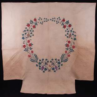 APPLIQUÉ QUILT W/ GARLAND OF FRUIT & ROSES, NEW ENGLAND