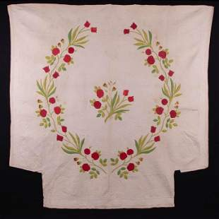 APPLIQUÉ TULIP & ROSE QUILT, NEW ENGLAND, 1850s