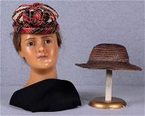 ONE SILK & ONE STRAW LADIES HATS, c. 1860
