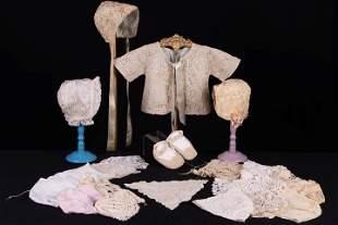 BABY BONNETS & MATCHING SET, 1810-1920s