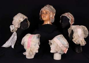 TEN EMBROIDERED OR LACE CAPS, EARLY 20TH C