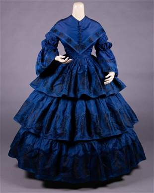 SAPPHIRE BLUE PATTERNED SILK DAY DRESS, MID 1850s