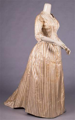 SATIN & RIBBED SILK STRIPED GOWN, LATE 1870s