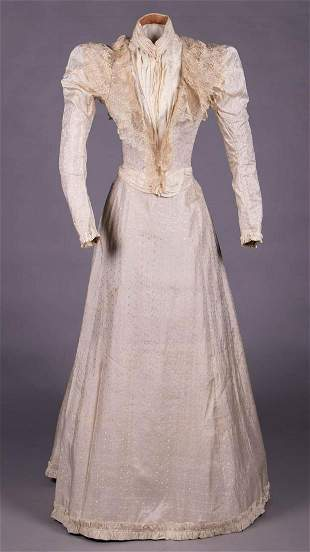 IVORY PATTERNED SILK DAY DRESS, EARLY 1890s