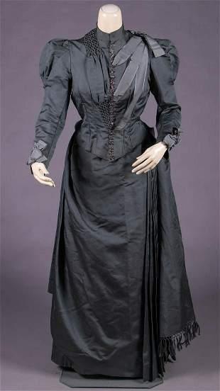 ASYMMETRICAL SILK FAILLE DAY DRESS, EARLY 1890s