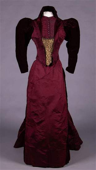 LABELED VELVET & FAILLE AFTERNOON GOWN, c. 1892