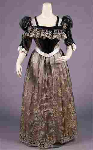 SILK SATIN & EMBROIDERED NET EVENING GOWN, 1900s