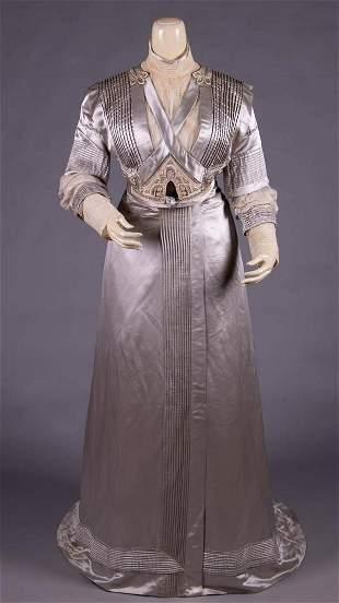 SILVER SILK SATIN EVENING DRESS, NEW YORK CITY, c. 1908