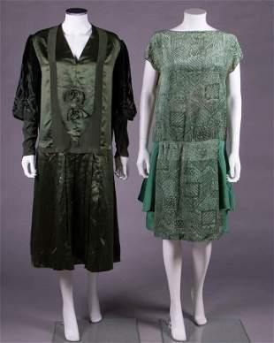 TWO GREEN CHIFFON VELVET DRESSES, 1920s