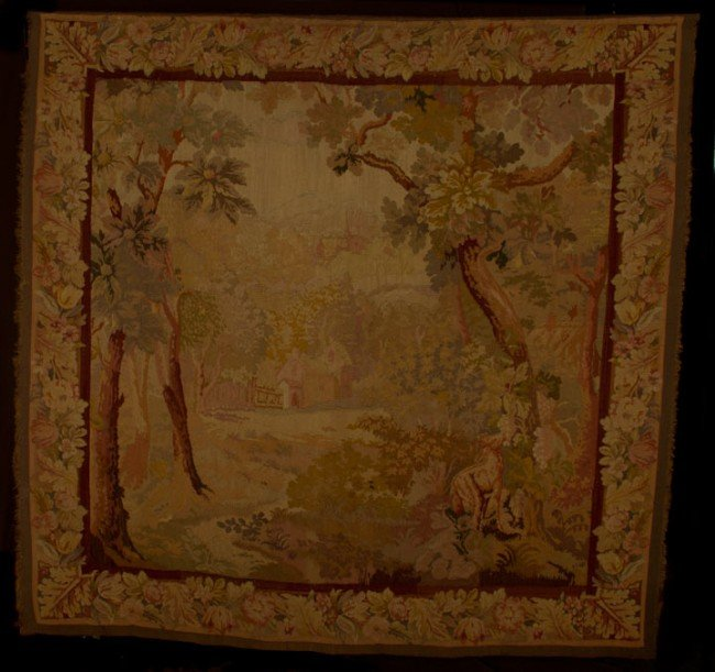 10: WOOL PASTORAL TAPESTRY, 18TH C