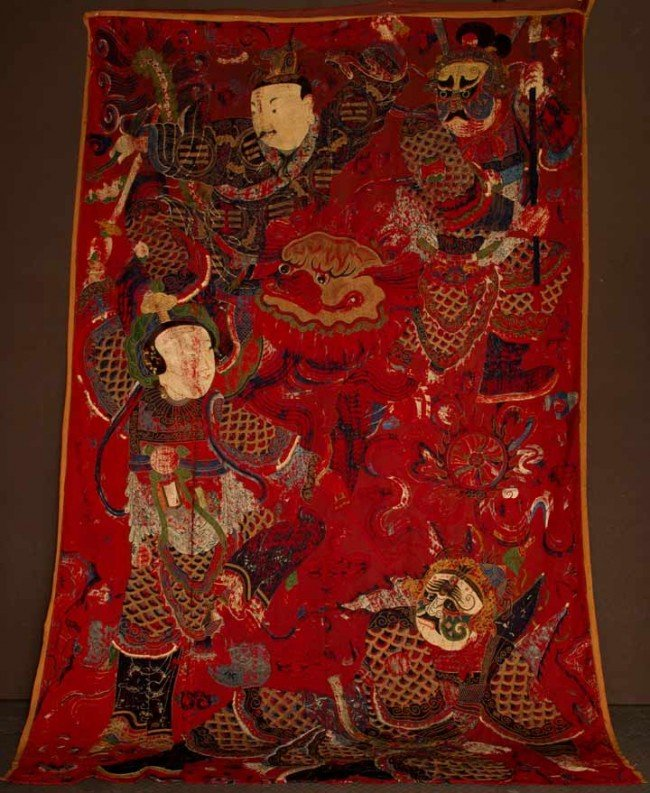 14: EMBROIDERED OPERA CURTAIN, CHINA, c. 1850