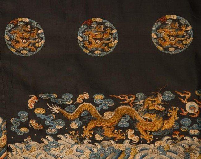15: EMBROIDERED HORIZONTAL DRAGON PANEL, CHINA, 19TH C