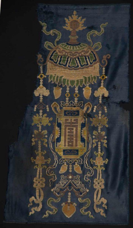 18: SILK BUDDHIST UMBRELLA FRAGMENT, TIBET, 17TH C