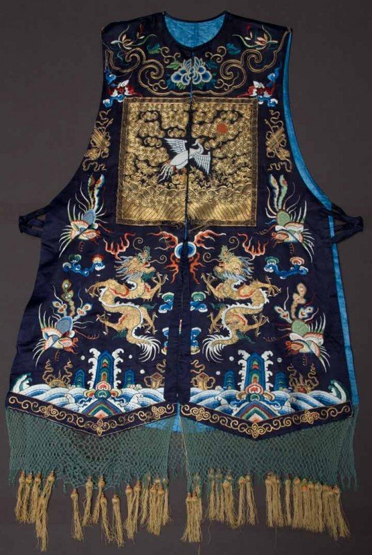 22: MAN'S VEST WITH RANK BADGE, CHINA, 19TH C