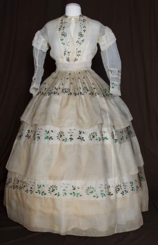 158: BEETLE TRIMMED ORGANDY DRESS, 1860s