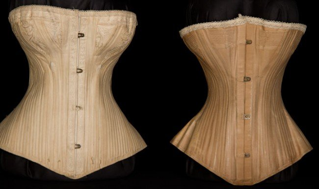 239: TWO ROYAL WORCESTER CORSETS, 1880s