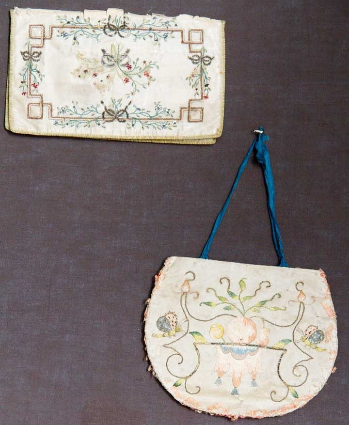 4: TWO EMBROIDERED PURSES, EUROPE, 18TH C