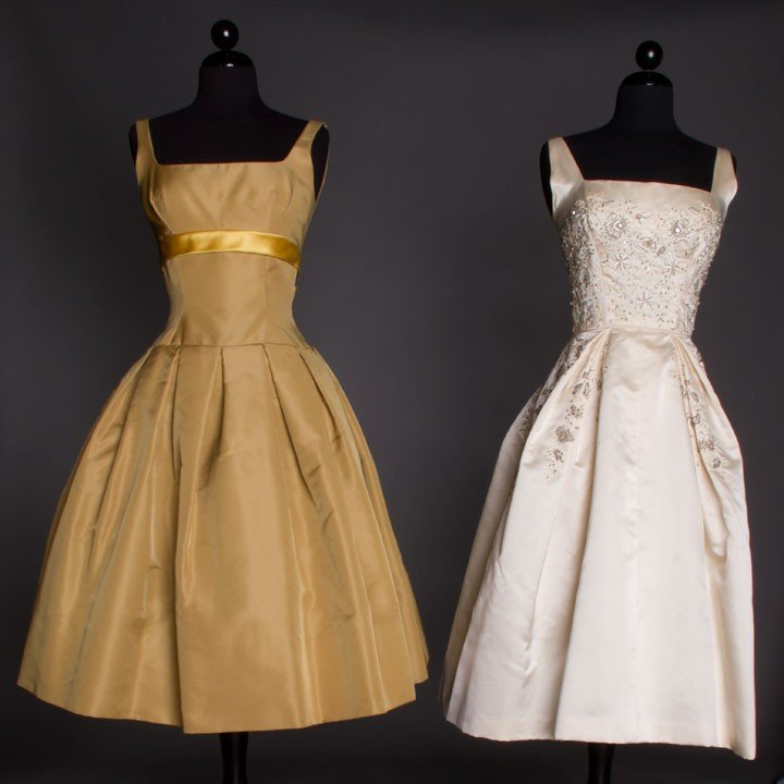 9: TWO SILK PARTY DRESSES, LATE 1950s