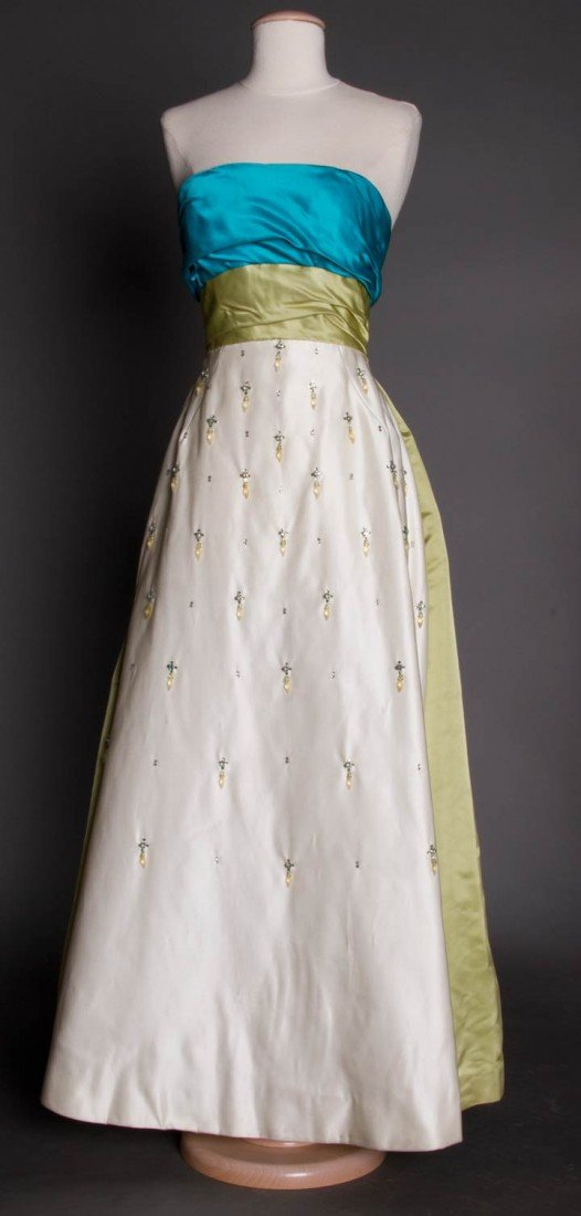 11: TRI-COLORED STRAPLESS BALL GOWN, 1960s
