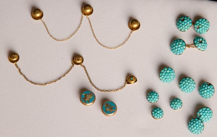 23: GOLD & TURQUOISE SHIRT JEWELRY, 19TH C