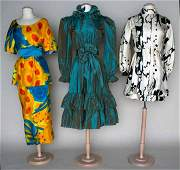126 THREE SILK DESIGNER PARTY DRESSES 19631980