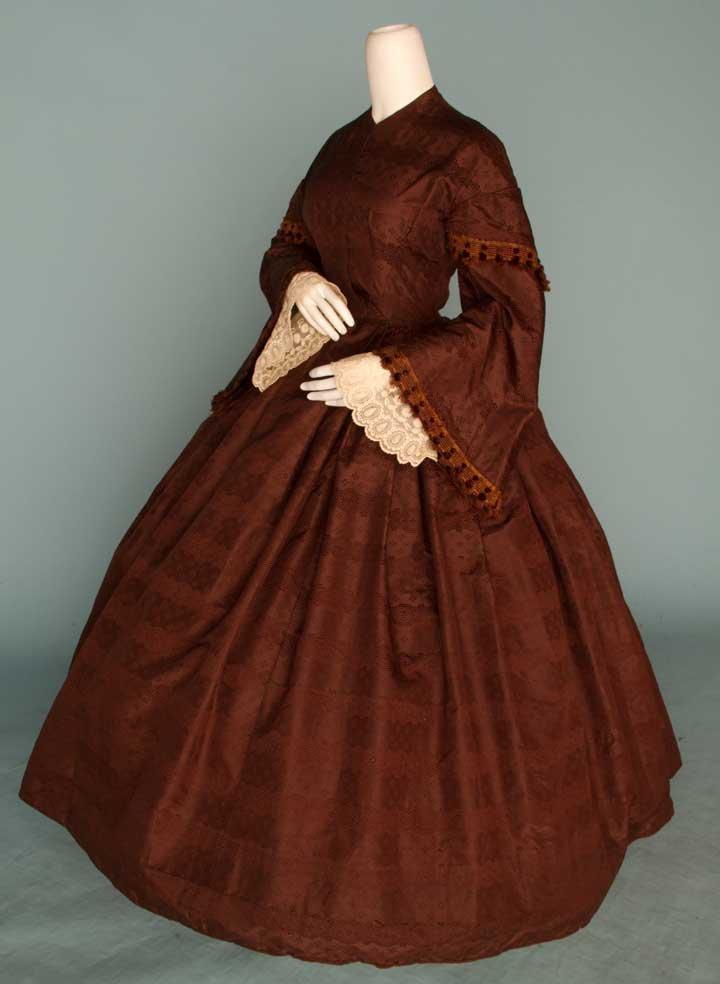 3: CHOCOLATE SILK BROCADE DAY DRESS, 1850s