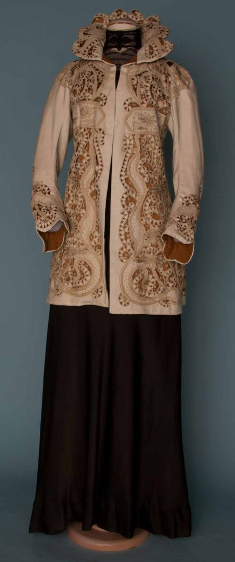 5: EMBROIDERED WHITE WOOL JACKET, c. 1908