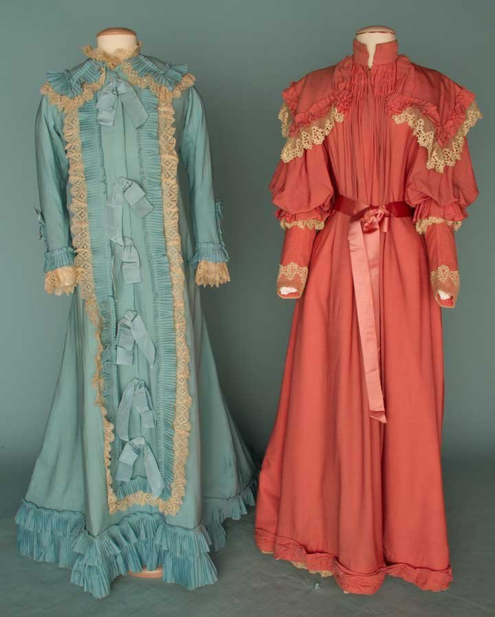10: TWO WOOL MORNING GOWNS, 1870s & 1890s