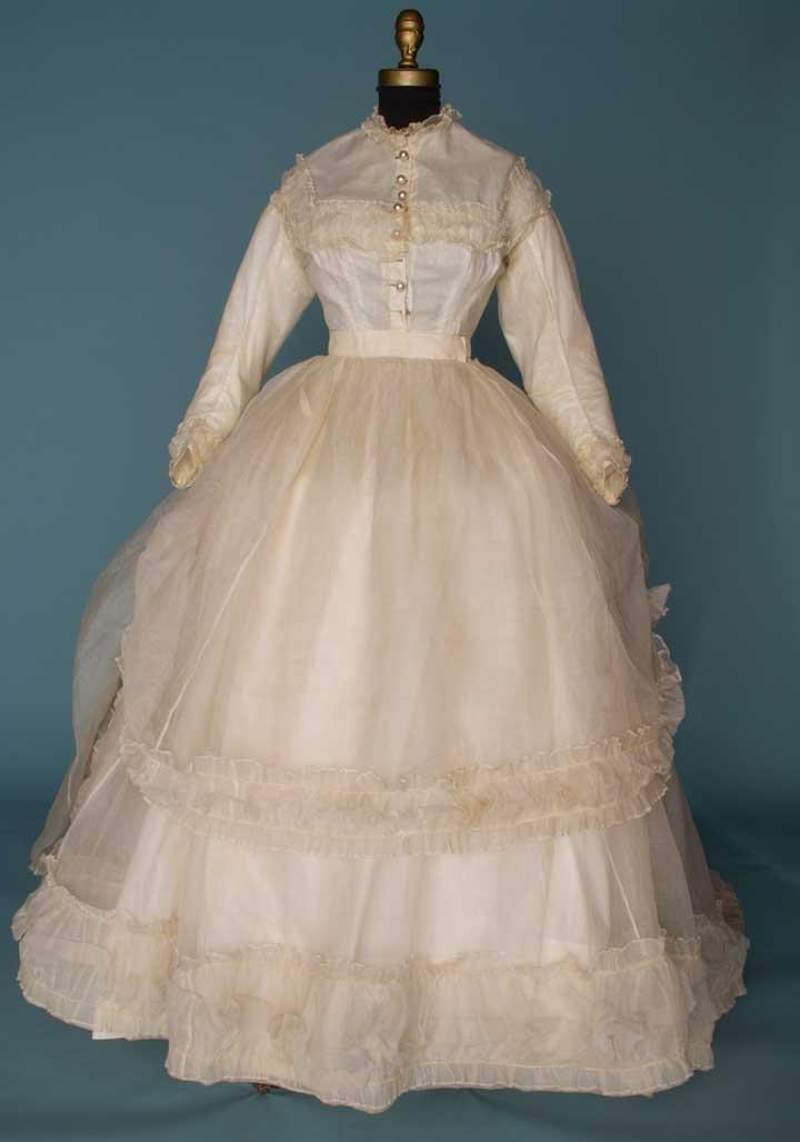 13: WHITE ORGANDY WEDDING DRESS, 1860s