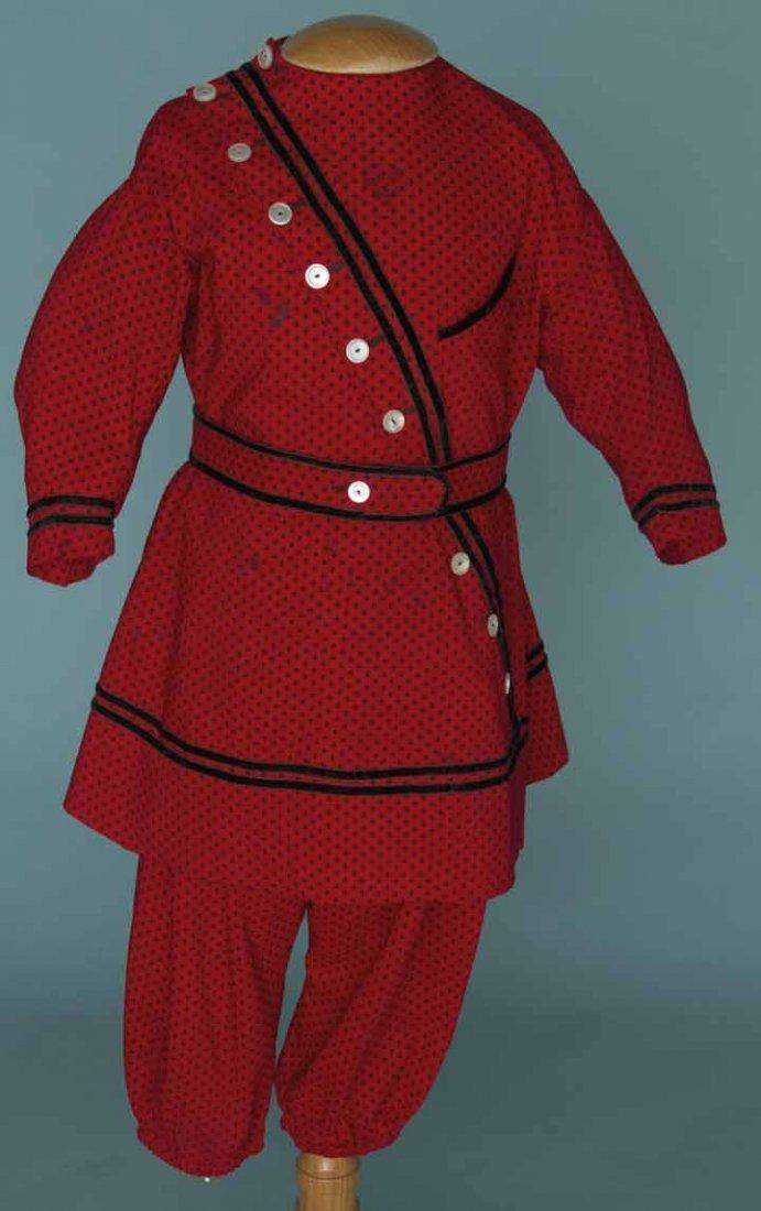 18: BOY'S PRINTED RED DRESS, 1860s